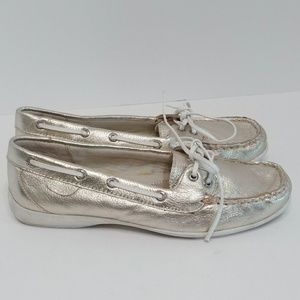 Sperry top sider gold shimmer leather boat shoes